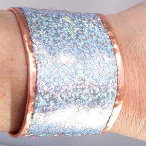 Genuine Leather Holographic Copper Cuff Bracelet